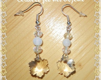 Snowflake Crystal, Crystal and dragon vein white-transparent colored beads earrings