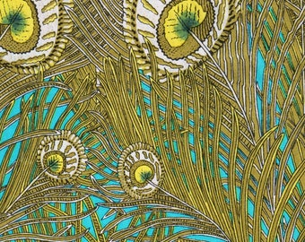 Coupon 93cm fabric Liberty Peacock Feather Green