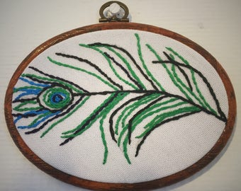 "Number 10, Peacock feather handmade embroidery 5.5""/ 14 cm hoop. Nature & feather hand embroidery fiber art wall art"