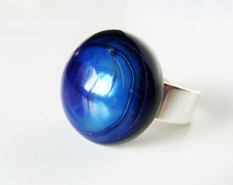 Domed ring - globe, blue glass cabochon
