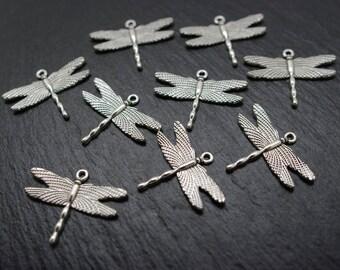 Silver 3 cm 20 dragonflies