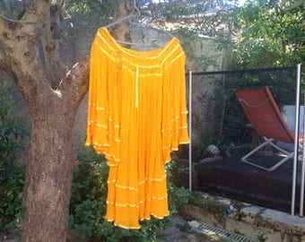 Mexican Yellow Sun cotton gauze tunic one size fits