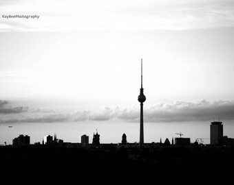 Black and white of the iconic and famous Berlin skyline silhouette Photographic Art Print