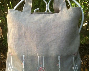 large shoulder bag in linen Twine