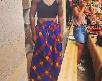 Maxi skirt high waist fabric ethnic wax