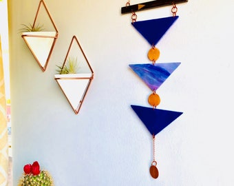 Modern Blue Glass & Copper Wall Hanging//Glass Sun Catcher//Glass Mobile
