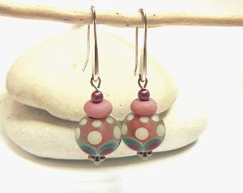 Spun dots Lampwork beads earrings