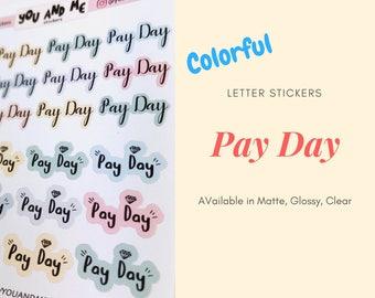 Pay Day   Lettering Stickers   Planner Stickers   Reminder Stickers   Erin Condren   Pastel   ECLP   Happy Planner   Bullet Journal   HS14b