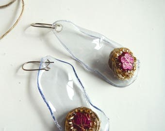 Fuchsia plastic earrings rose gold mod2/earrings