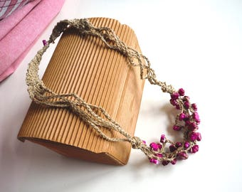 natural linen and Fuchsia beaded necklace Contradiction