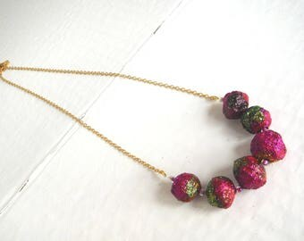Fuchsia glitter Gold Green diy necklace/necklace