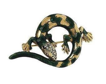Estate Vintage 14kYellow Gold & Green Enamel 3D Lizard Brooch Pin