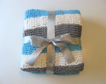 Blue Knit Baby Blanket