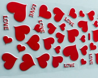 LOVE 1 sheet of stickers, red heart stickers in relief