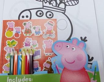 set of 16 coloring Peppa Pig children book color