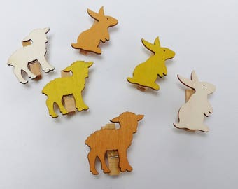 6 mini clothespins wooden rabbit 3 and 3 brown white Easter lamb