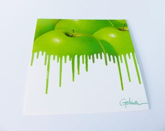 Green Apple and green paint drip square card