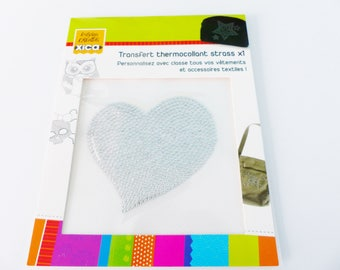 Silver heart thermo transfer pattern iron-on rhinestone personalize your clothing and textile accessories