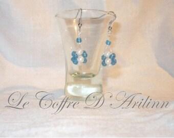Blue two-tone ball beaded earrings