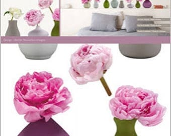 WALL DECALS DECOR * VASES PEONIES * 2 BOARDS ADHESIVES
