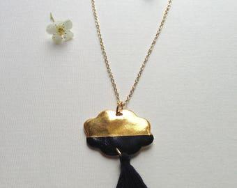 """Cloud tassels"" black and gold porcelain necklace"