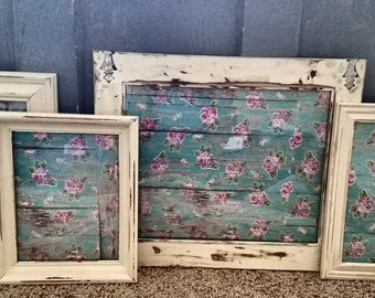 Antique white PICTURE FRAMES-frame set-wall gallery-vintage style-shabby Chic wedding-home-photo-collection-French Country Decor