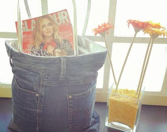Recycled jean pants shopping bag