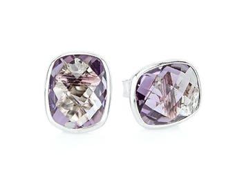 14k White Gold Stud Earrings With Cushion Cut Amethyst - Gemstone Studs