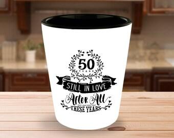 50th Wedding Golden Anniversary Shot Glass - Still In Love 50 Years - 1.5 oz Ceramic Shotglass