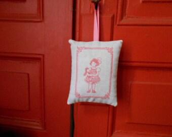 Hand - embroidered Lavender sachet girl