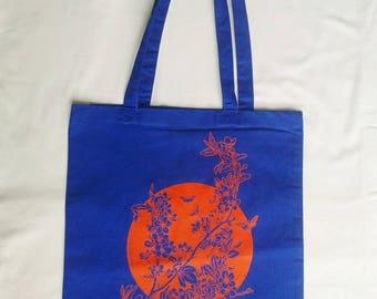 Sakura flower print blue Tote