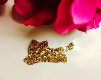 Brooch cat glitter
