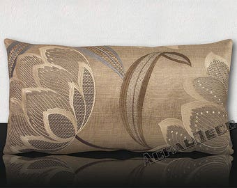 Pillow DESIGNER-luxury printed graphic flowers and embroidered silk/linen patterns plain lame.