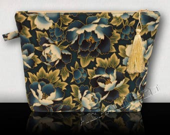 Clutch purse toilet peonies flowers Turquoise/Blue Sky/White/Green/Gold on turquoise and gold.