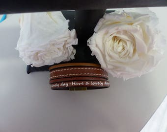 Brown leather magnetic bracelet