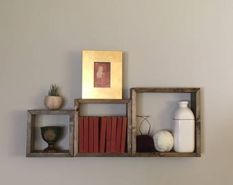 Rustic Solid Wood Nesting Square Wall Hanging Shelves