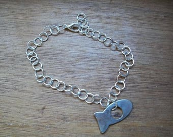 Silver metal fish bracelet