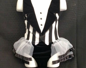 Black & White Tuxedo Style Leotard with attached Back Skirt