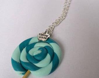 Blue lollipop polymer clay necklace
