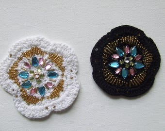 Applique flower pattern sewing 7.5 cm white pearls and rhinestones