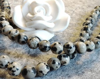 ☆ a Lot of 15 beads, 6 mm, Jasper Dalmatian ☆