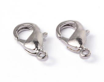 Set of 2 clasps color silver lobster claw clasp 12 x 7 mm (FR004)