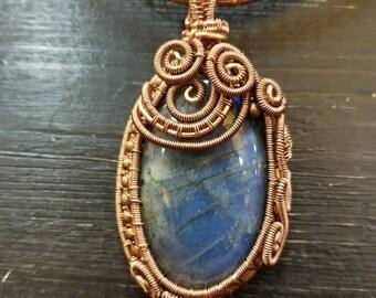 Labradorite and woven copper