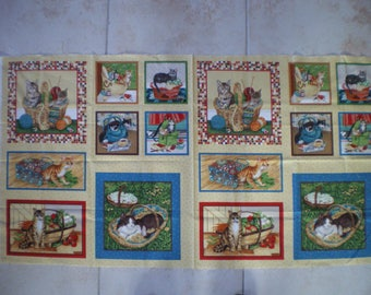 natural cats quilting Panel
