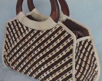"Handcrafted ""Pandan"" w/ Wood Handle Purse - Summer Purse - Hand Bag - Wood Handle Bag - Native Bag - Purse"
