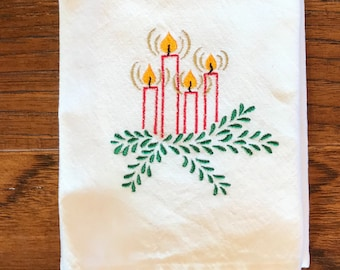 Tea Towel, flour sack, embroidered, holiday, dish towel, kitchen towel, house warming, hostess gift, bridal shower, Christmas