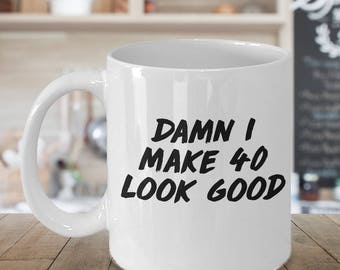 forty and fabulous, 40th birthday gift, 40th birthday mug, 40th birthday mug, mug 40th birthday, 40 birthday glass, 40th birthday