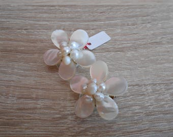 Mother of Pearl clip earrings and freshwater pearls