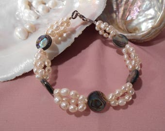 Cultured pearls and blue pearl bracelet