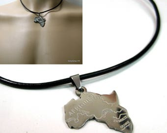 Leather and stainless steel N2626 Africa man necklace